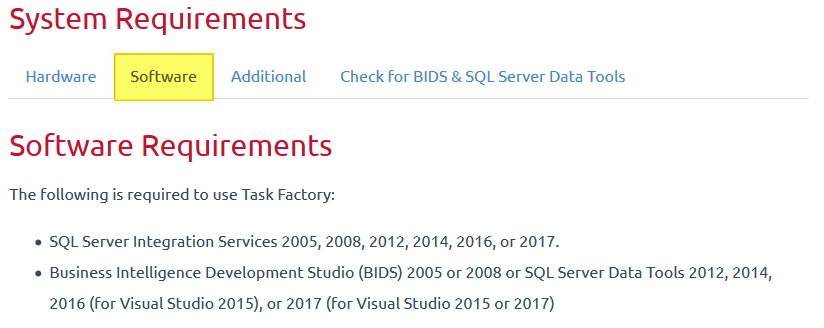 Task Factory Tabs Software Requirements