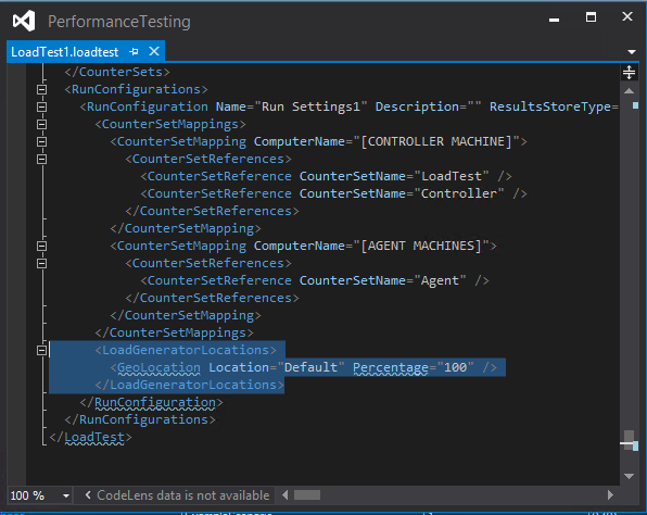 Visual Studio : Resolving the LoadGeneratorLocationError