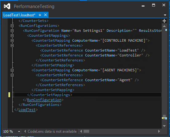 Visual Studio loadtest Edited XML Saved