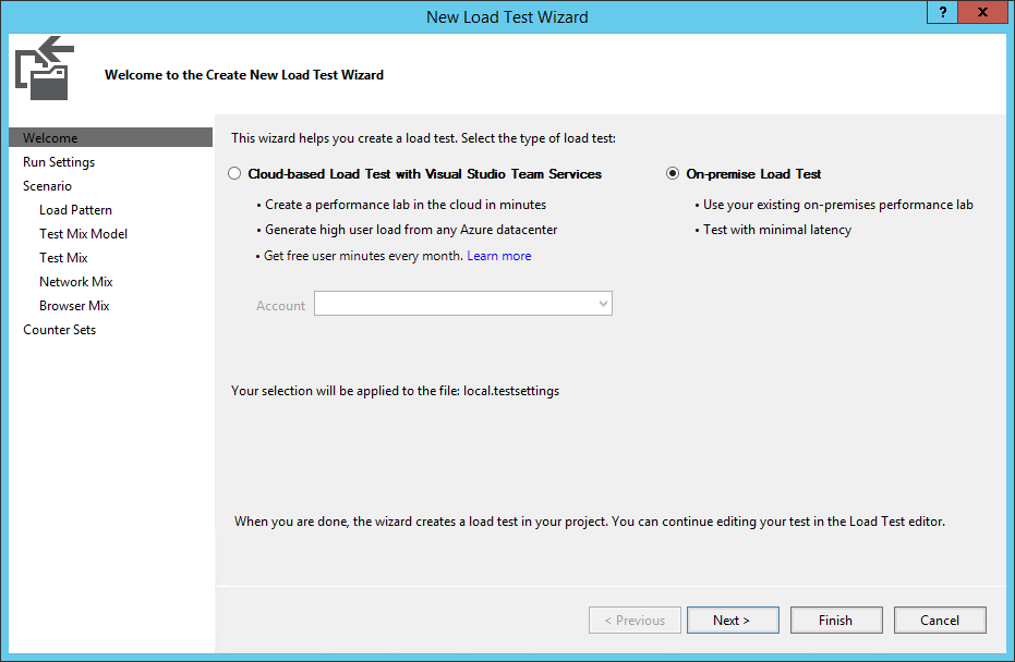 Visual Studio New Load Test Wizard