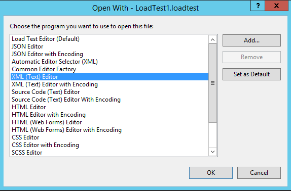 Visual Studio loadtest Open With Window