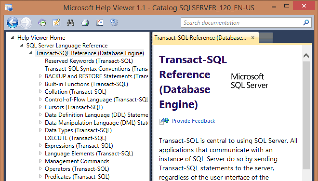 Updated SQL Server 2014 Books Online Content