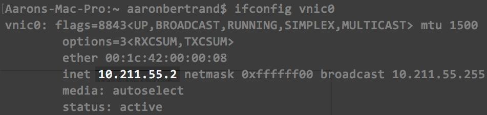 Checking vnic0 interface