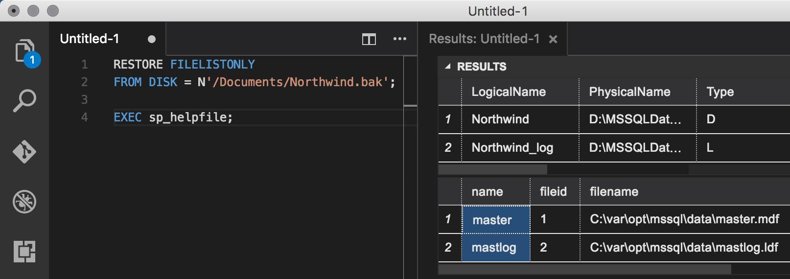 Checking access to BAK file and destination data/log folder