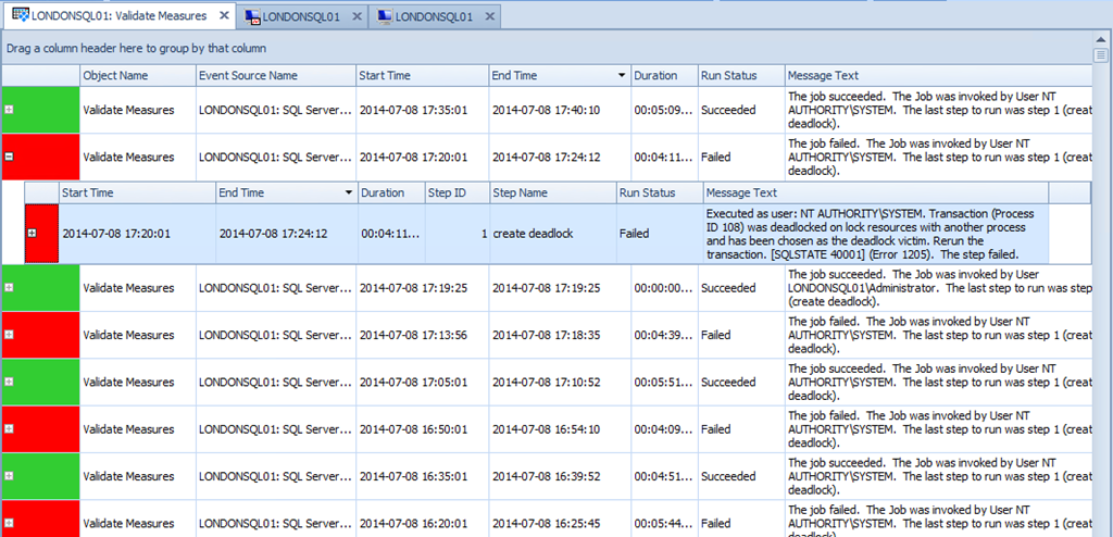 Job history details in SQL Sentry Event Manager