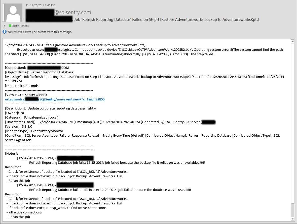 Sample email for a job failure with notes included