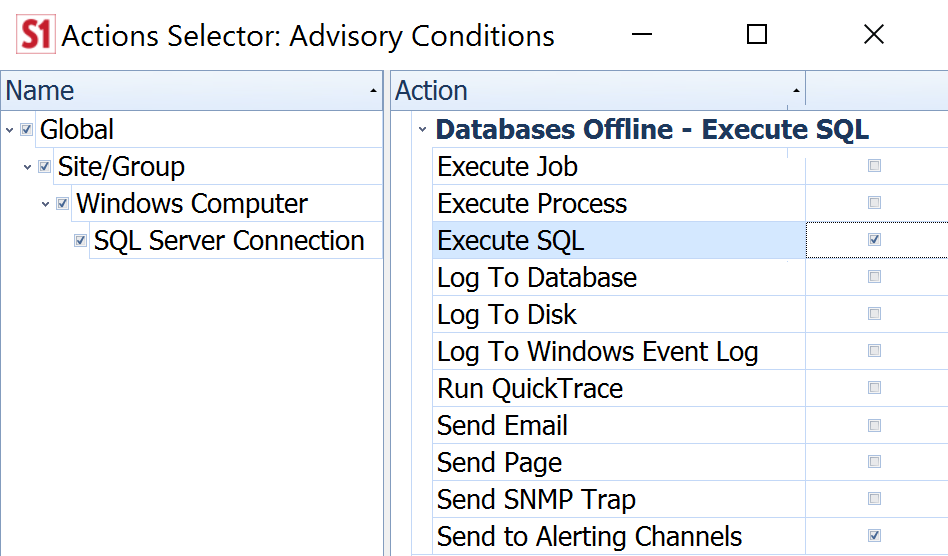 Actions for Execute SQL Condition