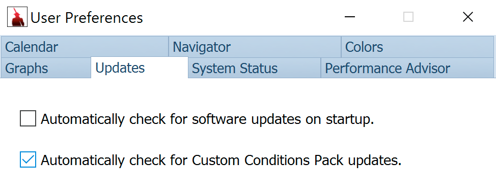 User Preferences for Custom Conditions pack Updates