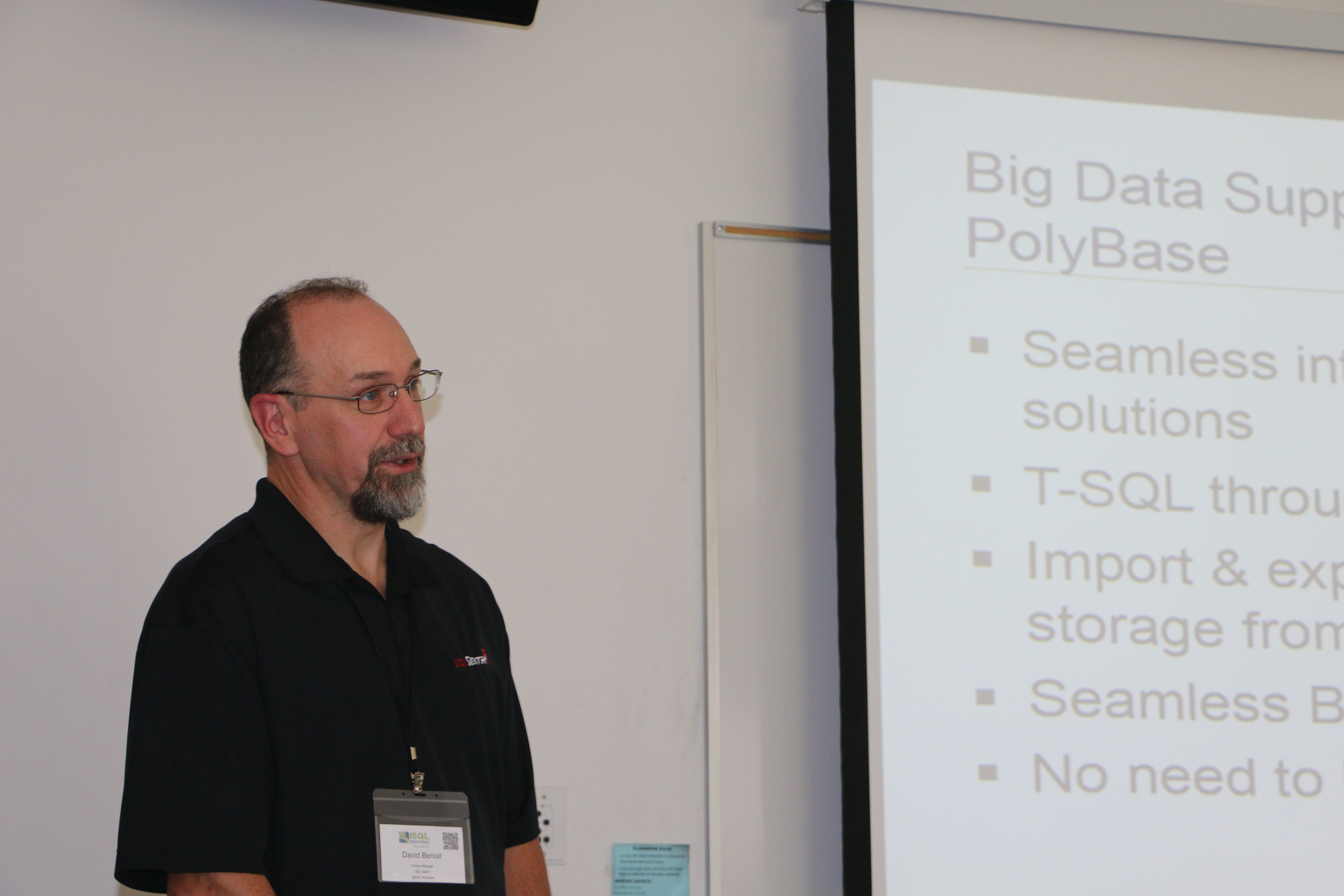 David Benoit speaking at SQL Saturday Maine