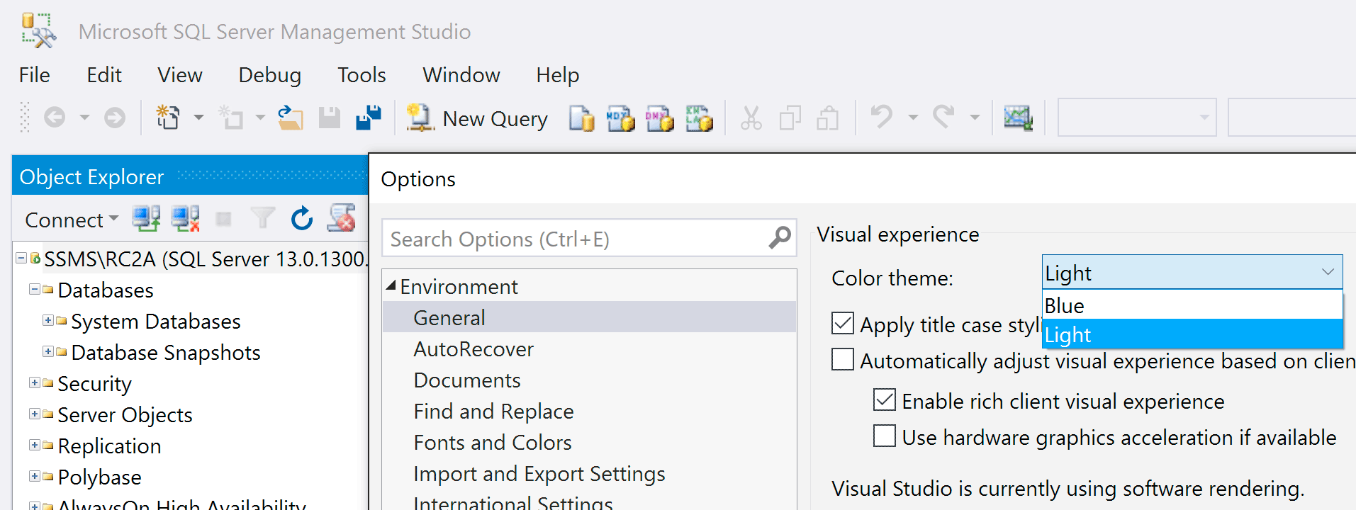 SSMS based on Visual Studio 2015 shell