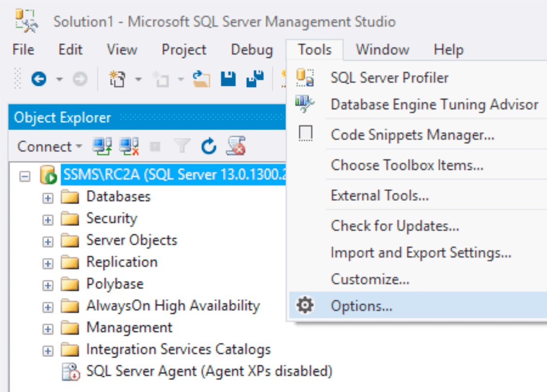 SSMS by default
