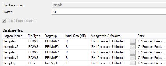 tempdb file properties dialog with default SQL Server 2016 settings