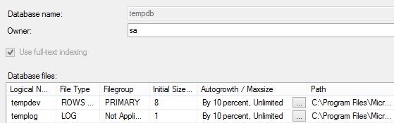tempdb file properties dialog with default SQL Server 2014 settings