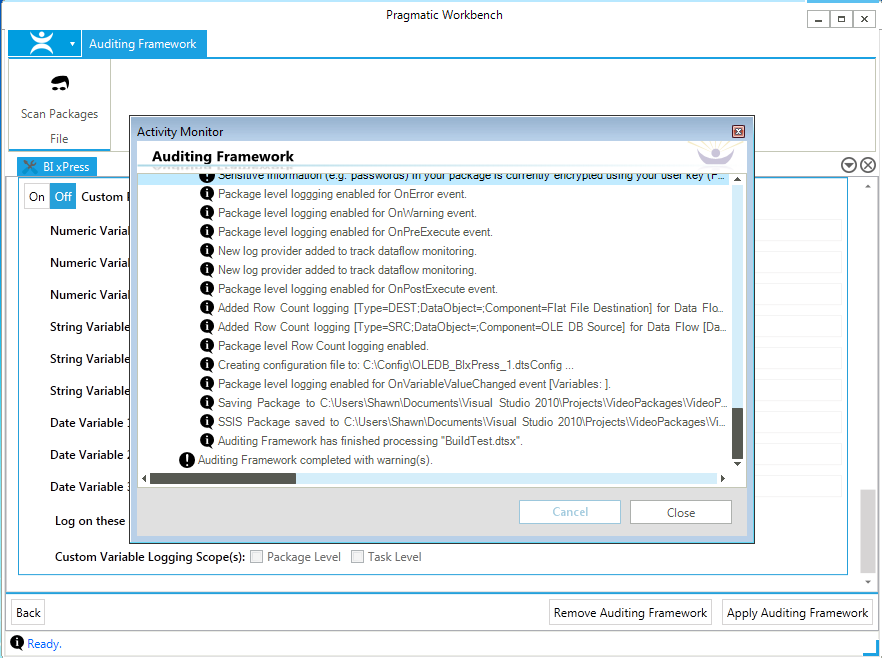 BI xPress Auditing Framework Wizard