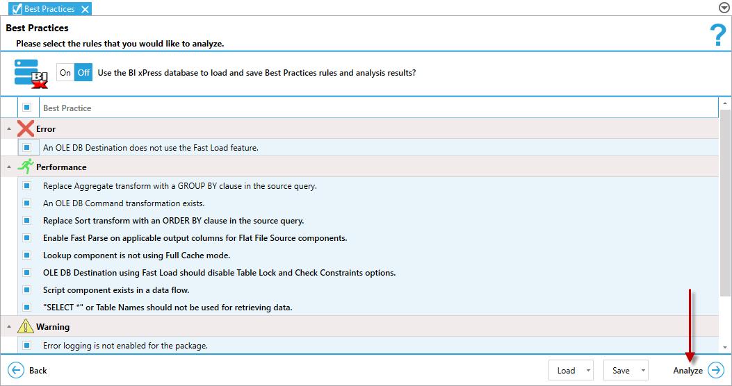BI xPress Best Practices Analyzer