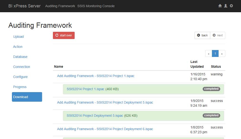 BI xPress Server Auditing Framework Wizard