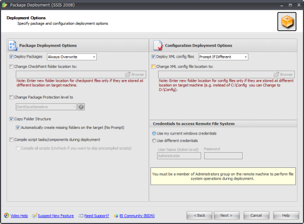 BI xPress Package Deployment Wizard