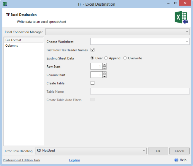 Task Factory Excel SSIS Destination