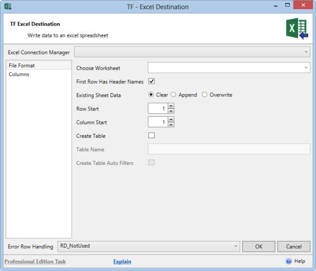 Task Factory Excel SSIS Destination