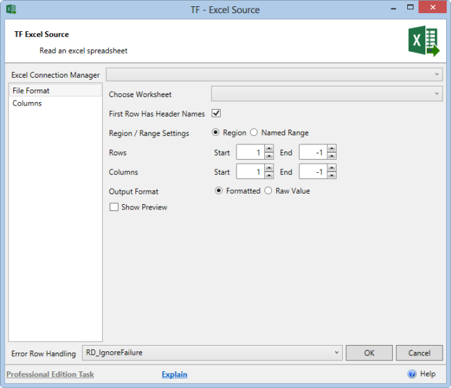 Task Factory Excel SSIS Source