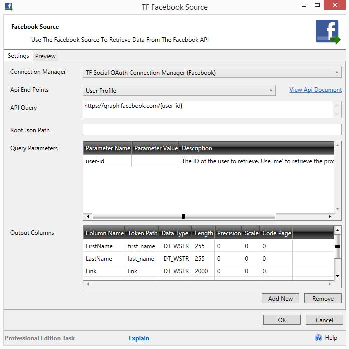 Task Factory Facebook Source