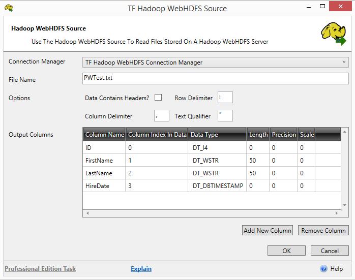 Task Factory HADOOP Web HDFS Source
