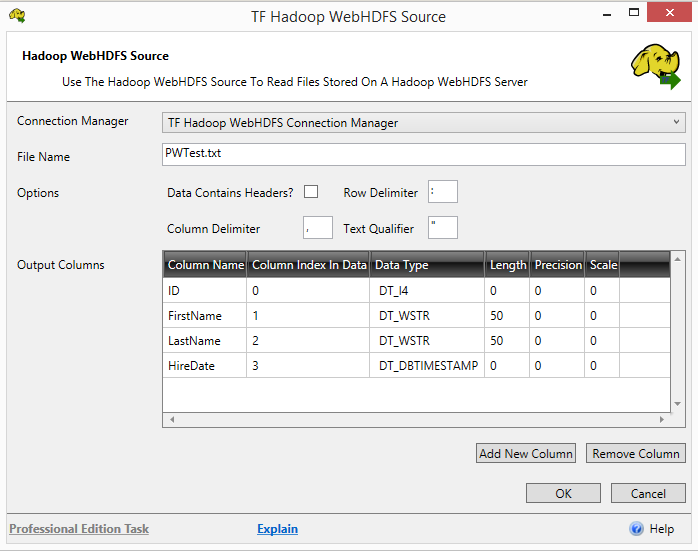 Task Factory HADOOP Web HDFS Source