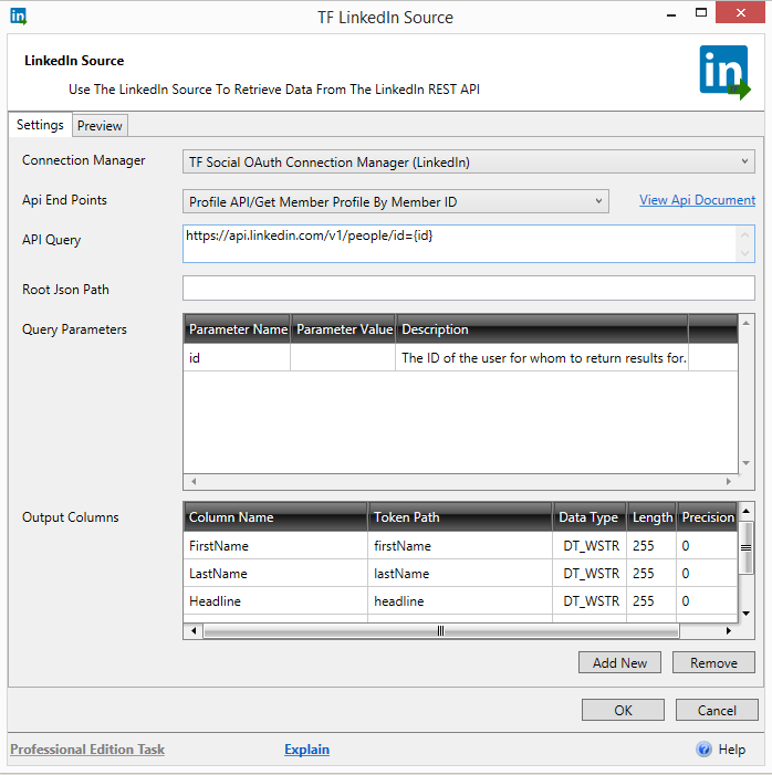 Task Factory: LinkedIn Source