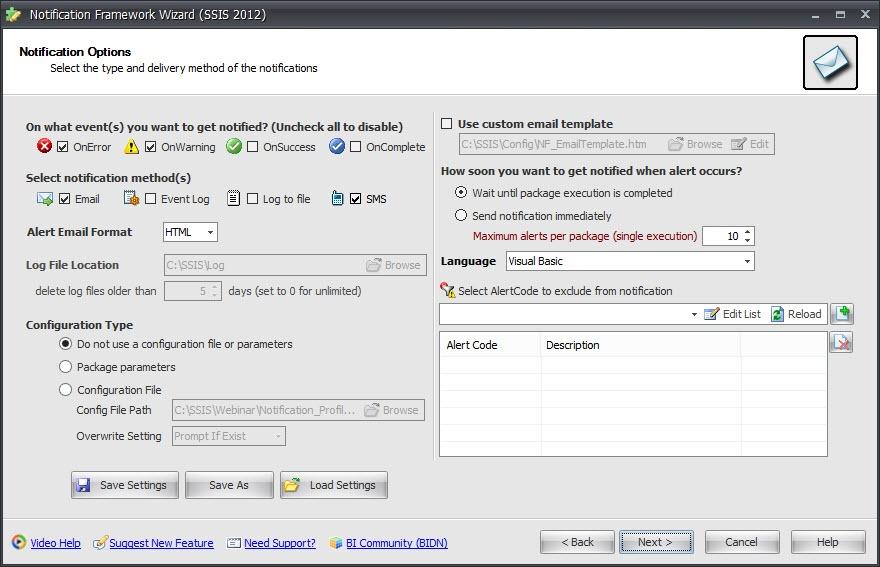 BI xPress Notification Framework Wizard