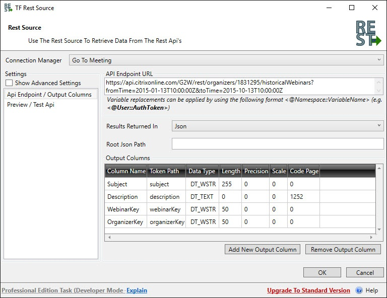 Task Factory SSIS Rest Source
