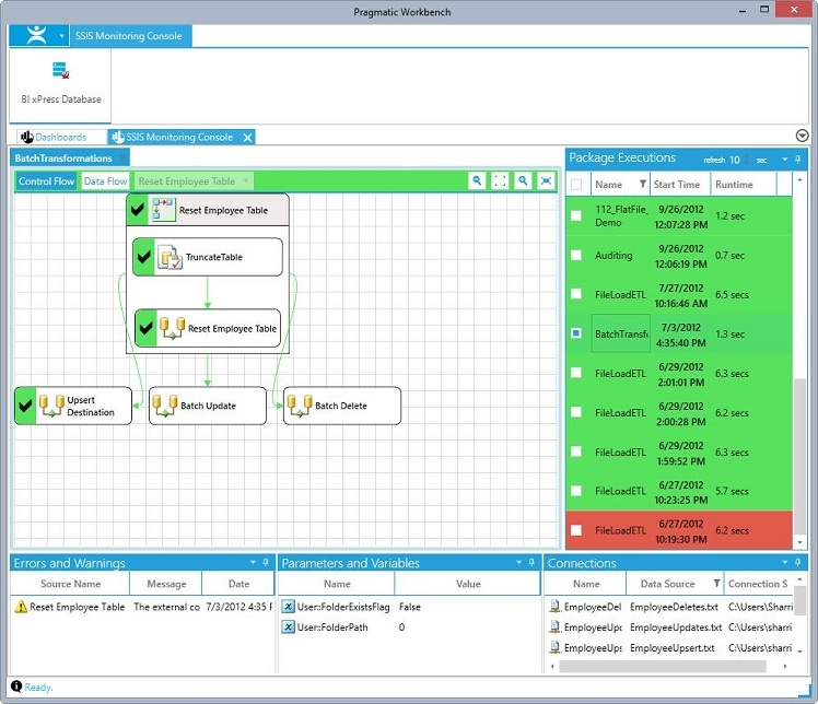 BI xPress SSIS Monitoring Console