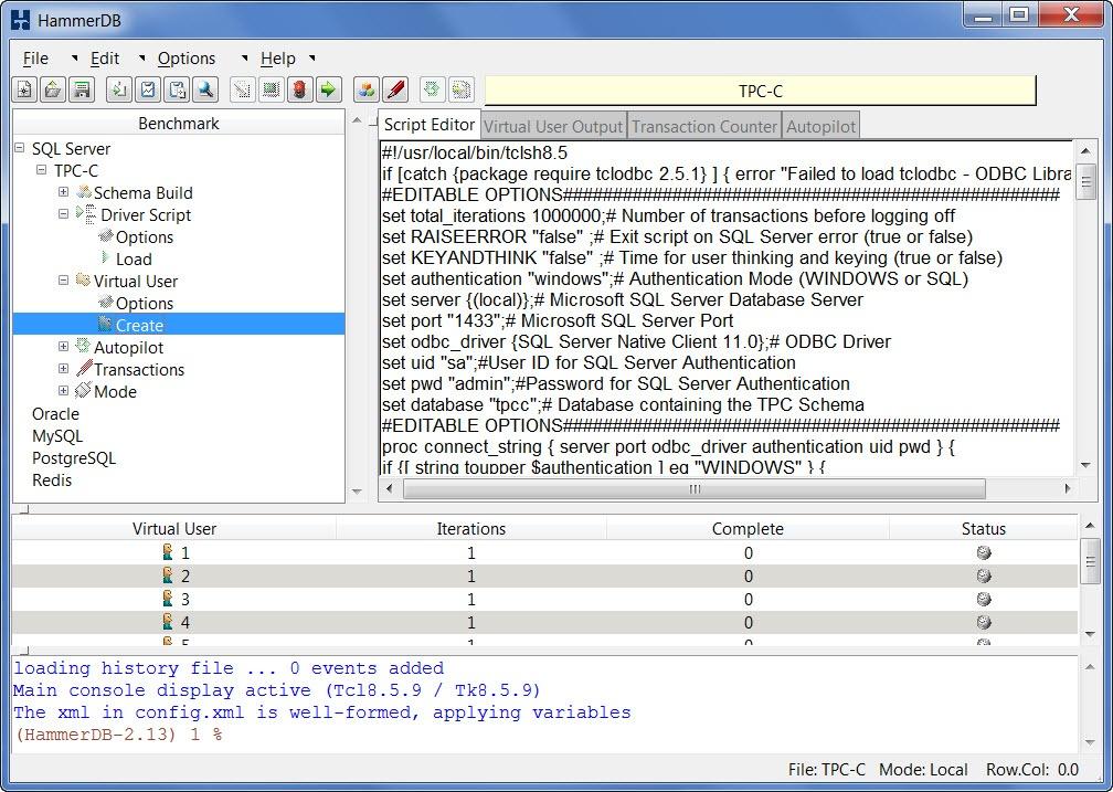 HammerDB Testing a TPC-C Workload