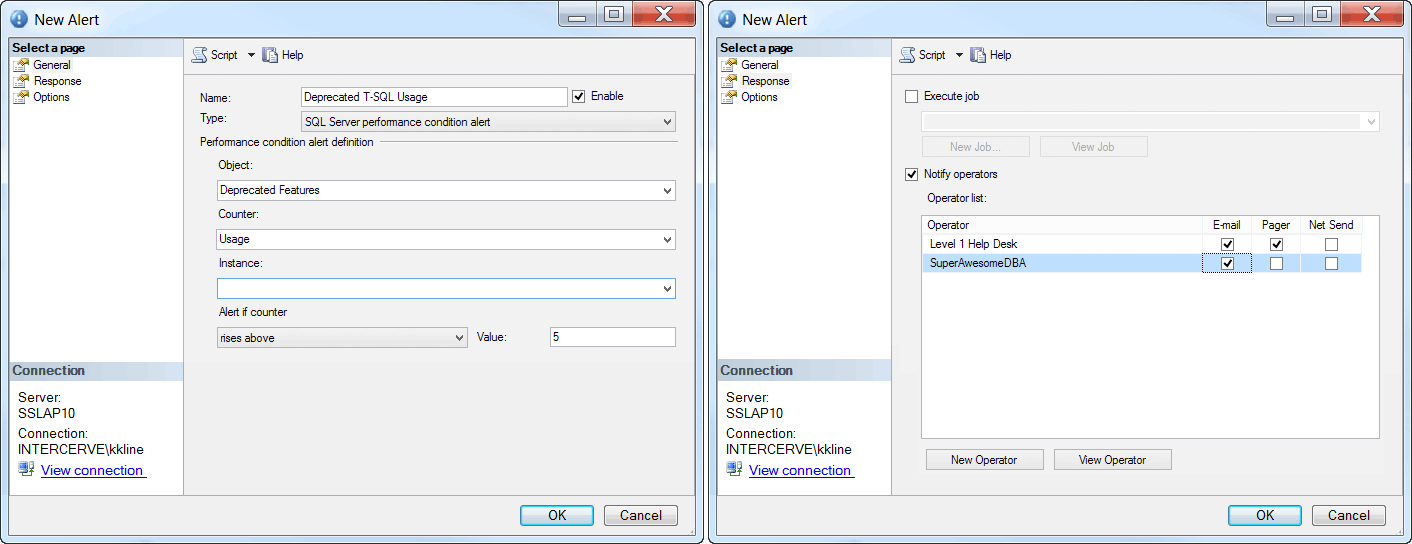 SQL Server Agent New Alert and Response Tabs
