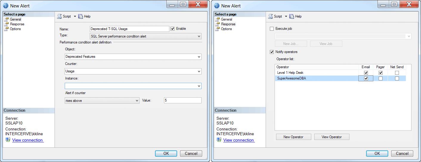SQL Server Agent New Alert and Response Tabs