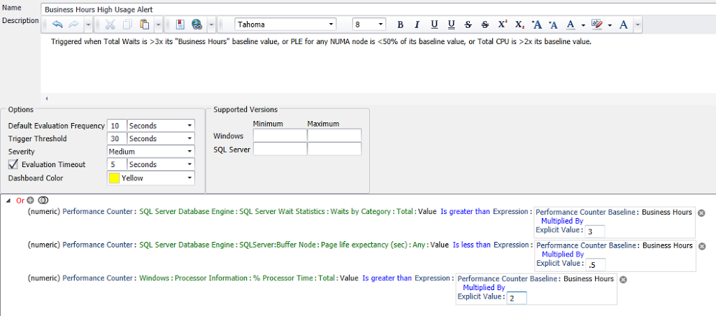 Custom Condition Builder Using Baseline Values