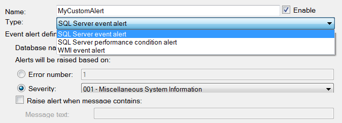SSMS New Alert Dropdown