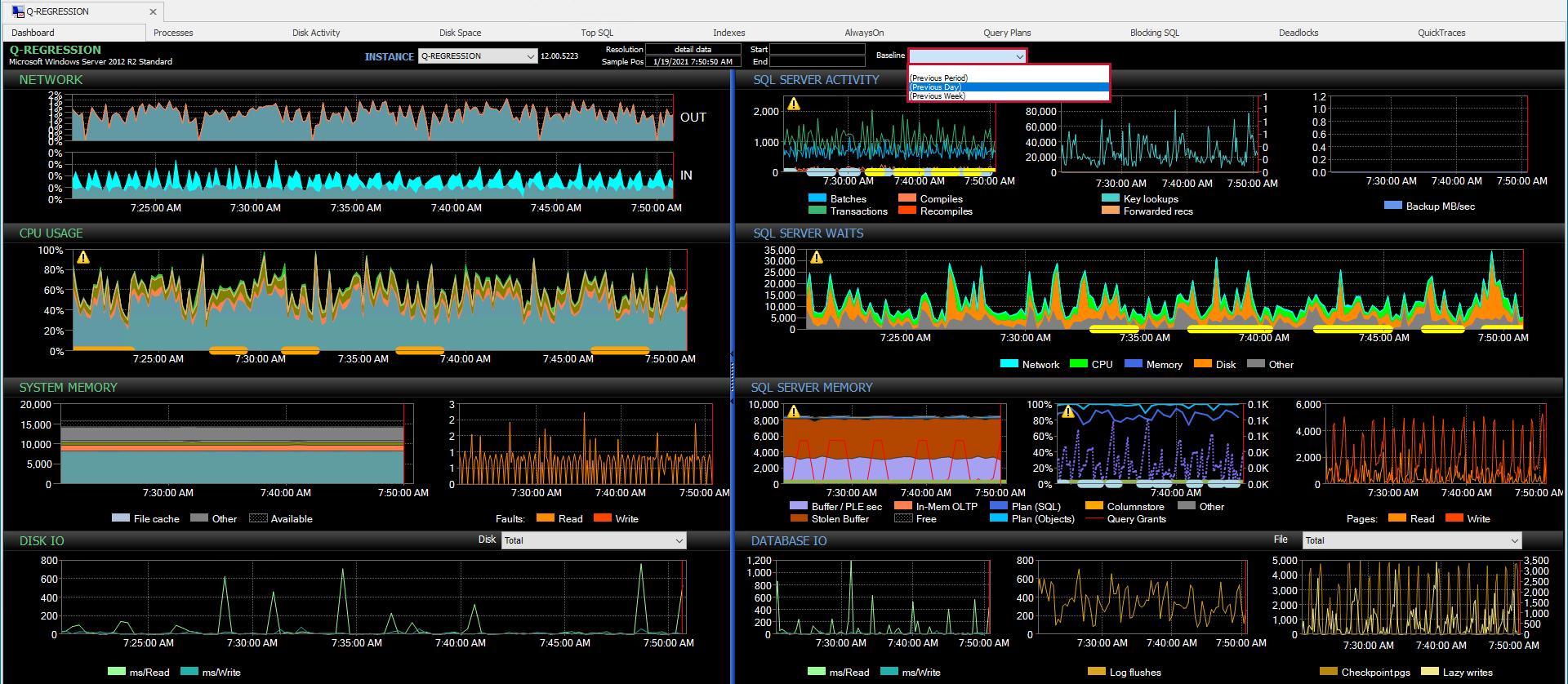 sentryone-performance-analysis-dashboard-baselines-dropdown-menu